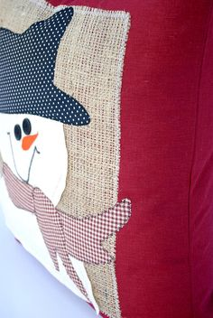 This is a beautiful Christmas pillow cover, made with high quality home decor dark red fabric with burlap on the front decorated with a snowman. colors include: brown, black, red, off white This pillow is perfect for your Christmas décor! - Made to fit 20x20 inch pillow insert