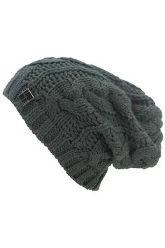 b4b9cf319d1 Charcoal Grey Oversize Slouchy Cable Knit Beanie Cap Hat Knit Hats