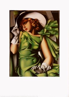 Young Girl with Gloves in Green, 1929  Art Print  by Tamara de Lempicka