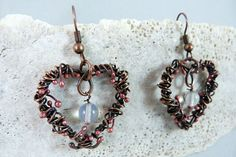 Moon Passion  Copper Wire Wrapped Earrings With by SkyAndBeyond, $25.00