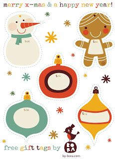 I adore these free gift tags from ***BORA ILLUSTRATIES***
