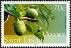 Sello: Breadnut (Santa Lucía) (Fruiting trees) Mi:LC 1244,Sn:LC 1221,WAD:LC019.05