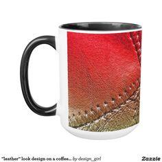 """leather"" look design on a coffee mug"