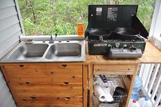 The Water Problem: Turning an Ikea Dresser into a Kitchen Sink — The & Ranch Outdoor Kitchen Sink, Kitchen Sink Diy, Outdoor Sinks, Outdoor Kitchen Design, Compact Kitchen, Mini Kitchen, Dry Cabin, Guest Cabin, Ikea Dresser