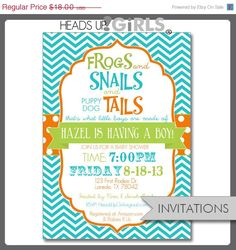 30% OFF Sale Set of 12 Personalized Frogs and Snails and Puppy Dogs Tails Baby Shower Invitations in Aqua, Lime Green and Orange - 1 Dozen