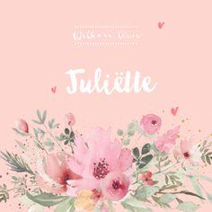 lovz.nl   Romantische geboortekaartje voor een meisje met bloemen. Zelf maken!
