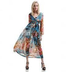 Women's Boho Blue/Yellow Dress, Print/Maxi Surplice Neck Long Sleeve Swing 1803884 2016 – $31.96