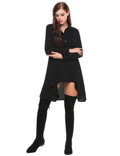 Black Long Sleeve Half Placket Geometric Asymmetrical A-Line Shirt Dress