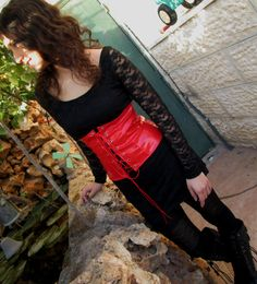 red fake leather no bones corset look like latex goth by Youshky, $54.00