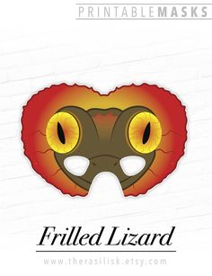 Frilled Neck Lizard Printable Mask | Reptile Party Mask Halloween Costume Cosplay Photo Booth Prop T Cute Baby Costumes, Easy Costumes, Animal Themed Birthday Party, Birthday Party Themes, Printable Masks, Printables, Spooky Halloween Costumes, Reptile Party, Last Minute Costumes