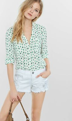 Original Fit Cactus Print Portofino Shirt from EXPRESS