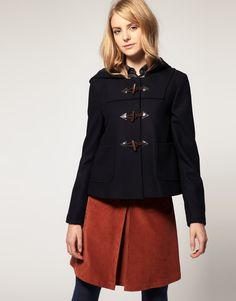 Barbour duffle coat, Sandro sweater, The Kooples shirt and skirt ...