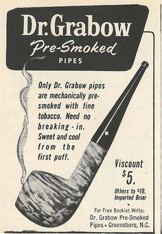 1961 Ad: Dr. Grabow's Pre-Smoked Pipes