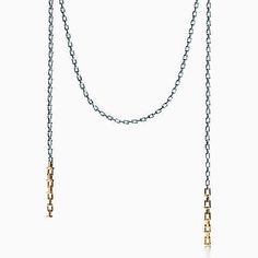 Tiffany T chain scarf necklace in sterling silver and 18k gold.