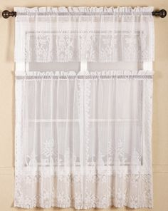 Find More Curtains Information about polyester 3pieces lace kitchen curtains with rod pocket lace curtains for kitchen with one valance set one pair of curtains,High Quality curtain chain,China curtain end Suppliers, Cheap curtain rods curtains from Hangzhou Jinhui Knitting Co.,LTD on Aliexpress.com