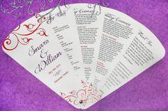 Red & Purple Swirls 6Petal Wedding Program Fan by ayleighdesigns