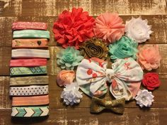 Peach Sunrise diy headband kit  baby shower by CuteAsaBowSupplyCo