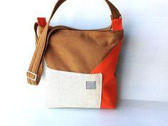 vegan messenger bag color block geometric design by LIGONbyRuthi, $69.00