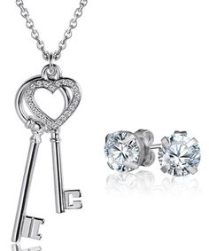 Look at this Silvertone The Keys to My Heart Set Made With SWAROVSKI ELEMENTS on #zulily today!