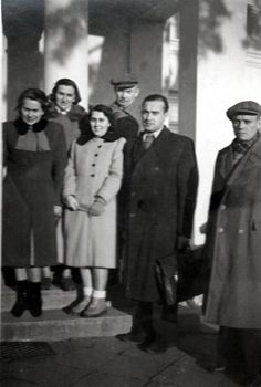 1940s in Poland. Because of war nylon is not available, women wear socks.