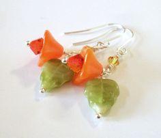 Glass flower leaf bead earrings, citrus colors, Czech glass dangles, Austrian crystal, green orange flower drop earrings, flower jewelry