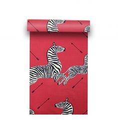 Scalamandré Masai Red Zebras Wallpaper