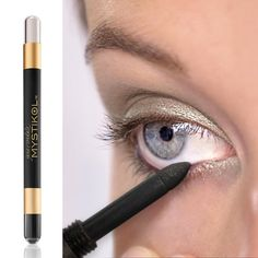 Beauty Tip: Use Mystikol on your waterline to reduce transference and create a dramatic, long-lasting eye makeup look. Shown here is Onyx Mystikol, winner of Allure's 2015 Best of Beauty Award!