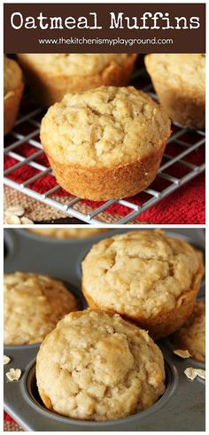 "Oatmeal Muffins ~ Simple, no-fuss, no ""stuff"" loaded into them - and delicious. They're just perfect for breakfast, brunch, or that afternoon snack.  www.thekitchenismyplayground.com"