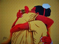 GILDÁSIO JARDIM - Pintura em tecido estampado e em tela comum. As estampas de tecido são lembranças das roupas das pessoas de minha comunidade. - Mora em Padre Paraiso - Minas Gerias - Brasil