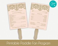 Lace Paddle Fan Program Template Double-Sided   DIY