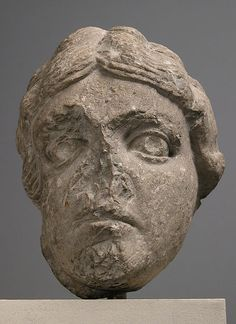 Head of Youth. ca. 1150–75, Made in Provence, France. Sculpture-Stone (Limestone).  The pilgrimage church of Saint-Gilles-du-Gard reveals the strong influence of antiquity on Romanesque art in France. This head can be associated with the church on stylistic grounds and demonstrates the influence of locally available ancient Roman sculpture.