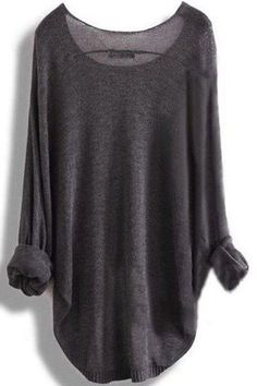 Dark Grey Plain Round Neck Pullover Sweater