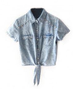 Lace-up Denim Jeans Short Shirt Casual Blouse