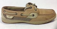 Sperry Top Sider Boat Shoes 7.5 Womens Bluefish Leather 2-Eye Linen/Oat #Sperry #BoatShoes