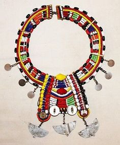 African Maasai Masai Beaded Ethnic Tribal Collar Necklace Jewelry - Kenya 46