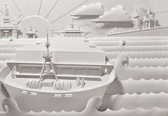 Paper sculpture by Jeff Nishinaka for Aba design: http://www.jeffnishinaka.com/