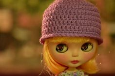 Orchid Purple Crocheted Cloche Hat for Blythe by HandmadebyCJ,