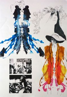 Fashion Sketchbook with colourful fashion illustrations representing mirror print fabrics // bréscia bercane