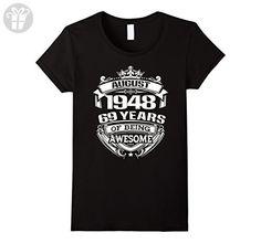Womens August 1948 - 69th Birthday Gifts Funny Shirt XL Black - Birthday shirts (*Amazon Partner-Link)