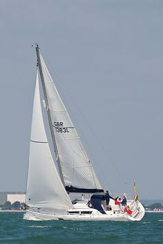 The Jeanneau Sun Odyssey 36i yacht 'Nordic Mist' sailing in the Solent.
