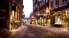 дорога, елки, переулок, дома, рождество, Улица, новый год, зима