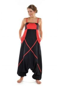 Sarouel combinaison ethnique femme Neena noire et rouge