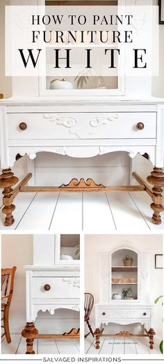 cool furniture How To Paint Furniture White - Salvaged Inspirations White Painted Furniture, Chalk Paint Furniture, Furniture Projects, Kids Furniture, Furniture Makeover, Furniture Design, Furniture Movers, Salon Furniture, Outdoor Furniture