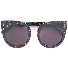 Stella McCartney paint splatter round sunglasses ($290) ❤ liked on Polyvore featuring accessories, eyewear, sunglasses, glasses, black, round frame sunglasses, stella mccartney eyewear, acetate glasses, stella mccartney sunglasses and multi color sunglasses