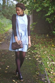 Layering it up for Autumn with a Turtleneck, Brogues and a Denim Dress on www.inmysundaybest.com