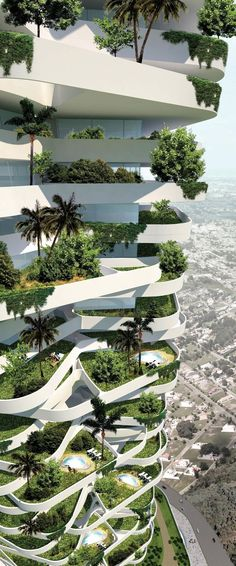 Keeping the city green, 21st century style. High rise. Skyscraper. Urban garden. Green roof. Environment. Environmentalist. Architecture. Modern architecture. Modern living. Green city. Modern city. #greenliving #ecohome