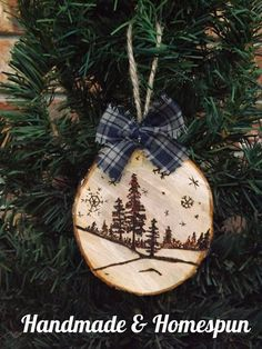 Wood-burned Winterscape Ornament