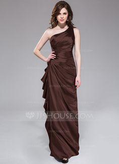 Sheath/Column One-Shoulder Floor-Length Charmeuse Bridesmaid Dress With Beading Cascading Ruffles (007051842)