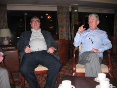 Taking coffee - Ron Stevenson and David Kernaghan - along with Graham King and Graham 'Torchy' Orchard - off picture.