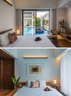 Schlafzimmer Im Traumhaus Mit Indirekter Beleuchtung Und Blick Auf Den Pool